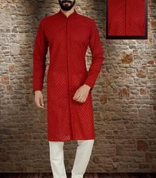 red stylish and  fancy embroidery kurta pyjama