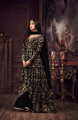 Black embroidered pure net salwar