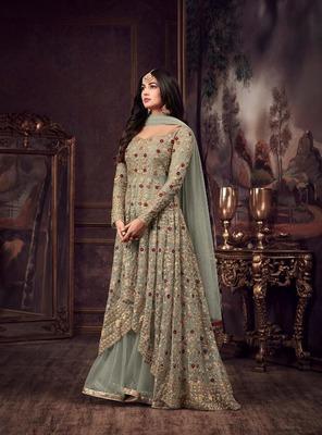 Light-green embroidered pure net salwar