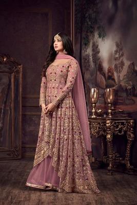 Pink embroidered pure net salwar