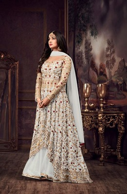 White embroidered pure net salwar