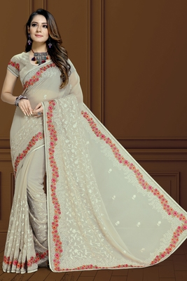 Chicku finest of thread embroidery in Lucknowi style saree with heavy embroidery blouse