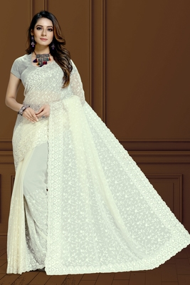 White finest of thread embroidery in Lucknowi style saree with heavy embroidery blouse