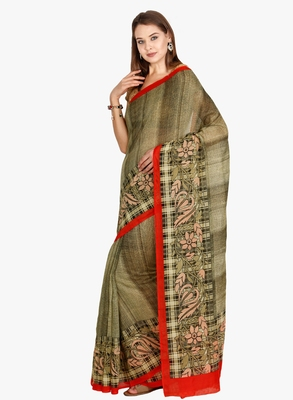 CLASSICATE From The House Of The Chennai Silks Women's Green Bhagalpuri Saree With Blouse
