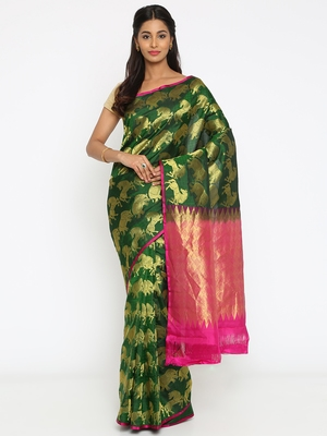 CLASSICATE From The House Of The Chennai Silks Women's Dark Green Traditional Kanjivaram Silk Saree With Blouse