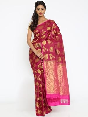 CLASSICATE From The House Of The Chennai Silks Women's Dark Pink Traditional Kanjivaram Silk Saree With Blouse