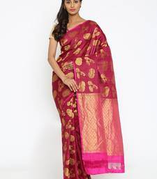 CLASSICATE From The House Of The Chennai Silks Women's Dark Pink Traditional Kanjivaram Silk Saree With Blouse