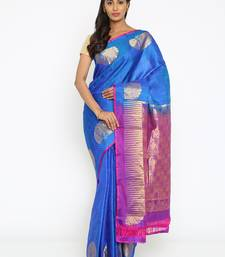CLASSICATE From The House Of The Chennai Silks Women's Royal Blue Traditional Kanjivaram Silk Saree With Blouse
