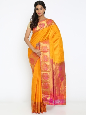 CLASSICATE From The House Of The Chennai Silks Women's Yellow Traditional Kanjivaram Silk Saree With Blouse