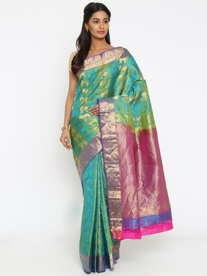 CLASSICATE From The House Of The Chennai Silks Women's Aqua Blue Traditional Kanjivaram Silk Saree With Blouse