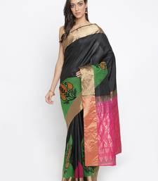 CLASSICATE From The House Of The Chennai Silks Women's Black Traditional Kanjivaram Silk Saree With Blouse