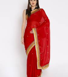 CLASSICATE From The House Of The Chennai Silks Women's Red Embroidered Crepe Saree With Blouse