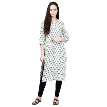 White printed cotton ethnic-kurtis