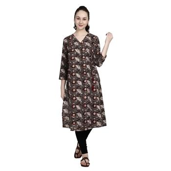 Brown printed cotton ethnic-kurtis