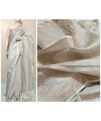 Silver tissue linen handwoven saree with blouse piece