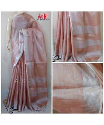 Peach colur tissue linen handwoven saree with blouse piece