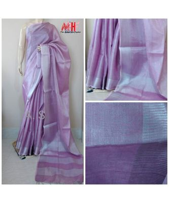 Light Purple Colur Tissue Linen Handwoven Saree With Blouse Piece