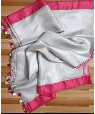 Tissue linen handwoven saree with contrast border and blouse piece