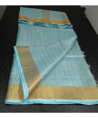Small check light blue Tissue linen handwoven saree with contrast border and blouse piece