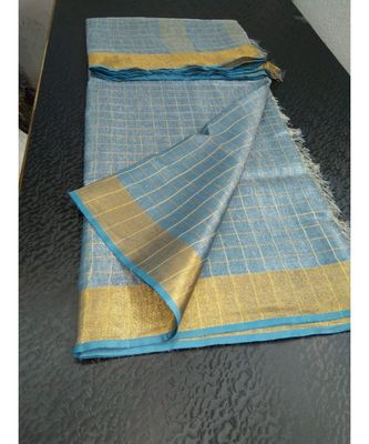 Small check blue Tissue linen handwoven saree with contrast border and blouse piece