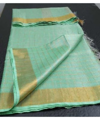 Small check green Tissue linen handwoven saree with contrast border and blouse piece