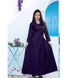 Blue  plain cotton stitched party wear gown