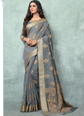 Grey woven faux jute saree with blouse