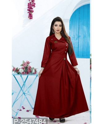 Maroon  Plain Cotton Stitched Party Wear Gown