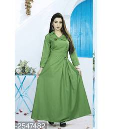Green plain cotton stitched party wear gown