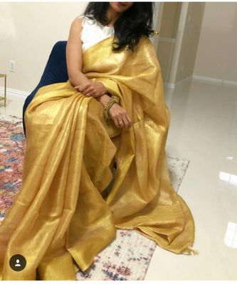 Golden tissue linen handwoven saree and blouse piece