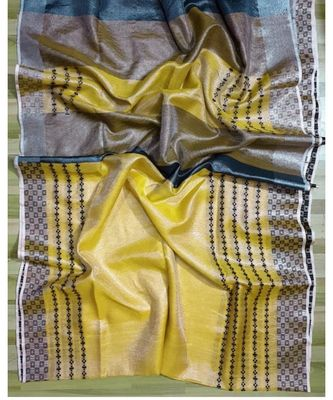 Ikkat tissue linen handwoven saree and blouse piece