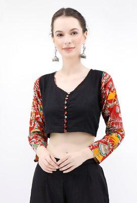 Noir Pure Cotton Blouse With Kalamkari Sleeves