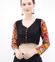 Noir Pure Cotton Blouse With Kalamkari Sleeves
