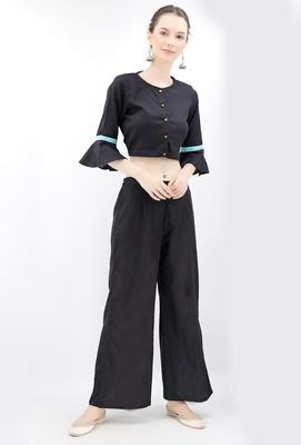 Black Cotton Blouse With Bell Sleeves