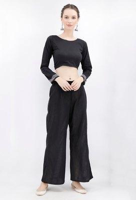 Black Rabari Padded Backless Threaded Blouse