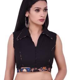 Black Collared Kalamkari Pure Cotton Blouse