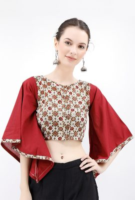 Off White & Maroon Cotton Blouse With Flared Bell Sleeves