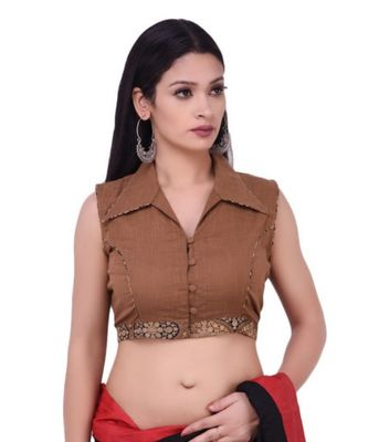 Brown Pure Cotton Blouse With Ajrakh Border