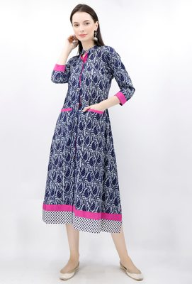 Blue Hand Block Printed Bagru Maxi Dress With Magenta Border