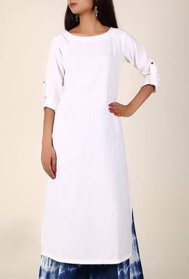 white Ivory White Cotton Flex Kurta