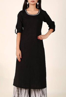 black Classic Black Cotton Flex Kurta