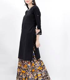 black Cotton Kurta And Deep Berry Kalamkari Palazzo