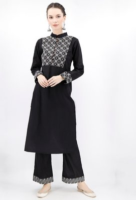 black plain cotton stitched kurti