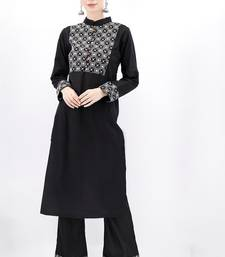 black plain cotton stitched kurti