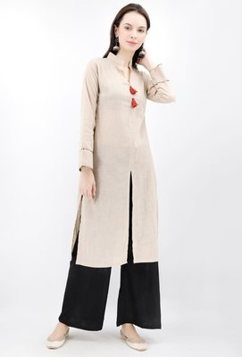 Beige Cotton Slub Kurta With Tassles
