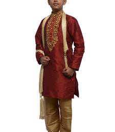Maroon embroidered dupion silk boys-kurta-pyjama