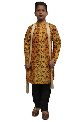 Orange printed dupion silk boys-kurta-pyjama
