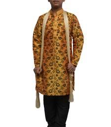 Orange printed dupion silk boys-kurta-pyjama