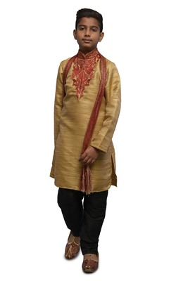 Fawn embroidered bhagalpuri silk boys-kurta-pyjama
