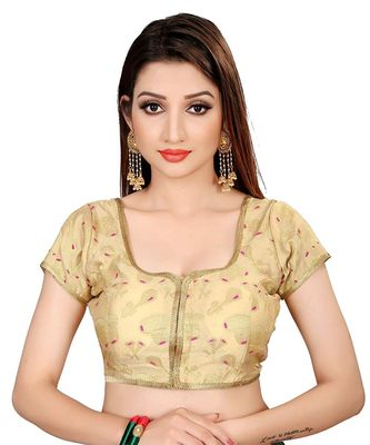 Women's Brocade And Georgette Round Neck Saree Blouse